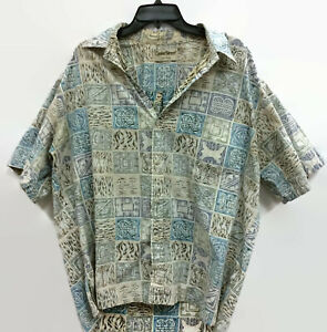 Cooke-Street-Mens-Hawaiian-Shirt-Cotton-Green-Blue-Khaki-Made-in-USA-Size-XL