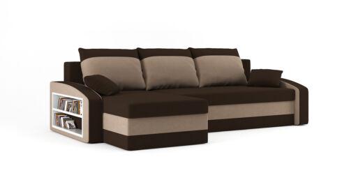 Corner Sofa Bed Hewlet with shelf unit.SPRUNG MATTRESS AND EXTRA STORAGE
