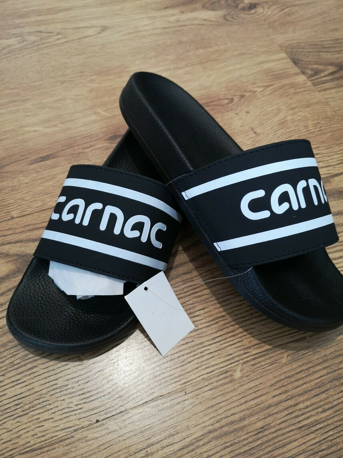 New Cheap Carnac comfort Slides Size 8uk 42eur Black With Cool Logo On Front 💪