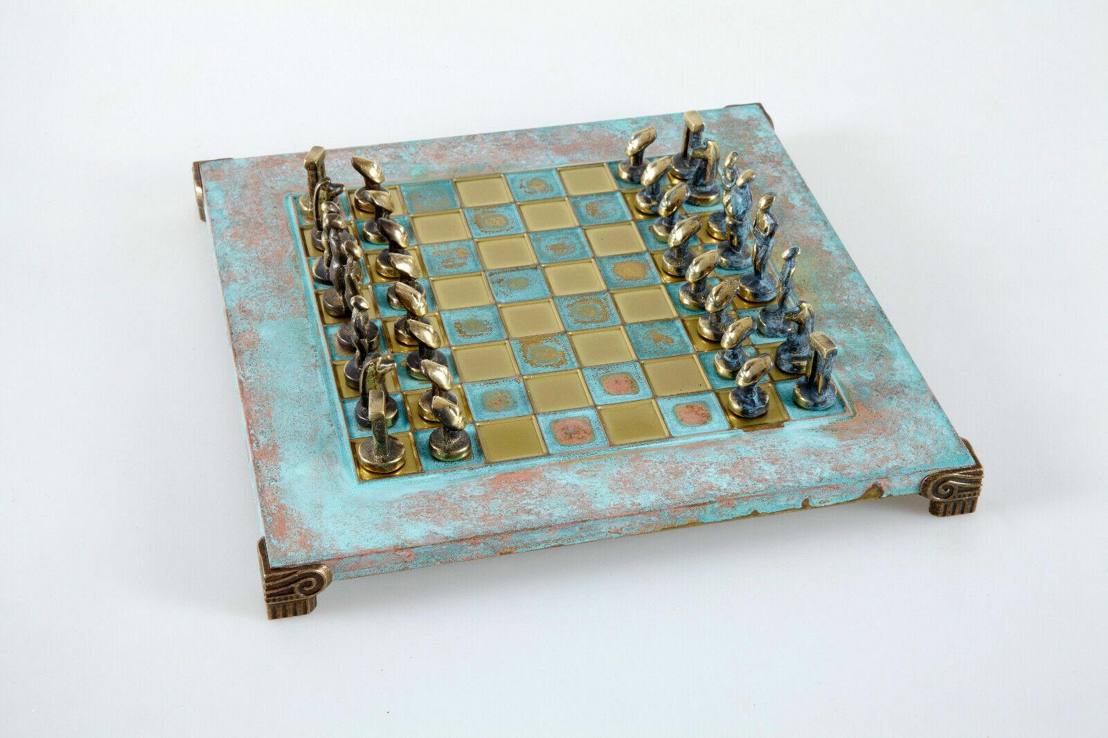 Cícladas Arte Grande Juego De Ajedrez-material De Bronce-Azul oxidar Board