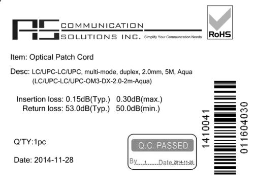 PVC Pack of 5 5M LC//LC Optical Patch Cord OM3 10G Multimode Duplex 2.0mm