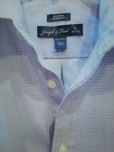 Joseph & Feiss Shirt 16 34/35 Long Sleeve Button Front White Blue Maroon Checks