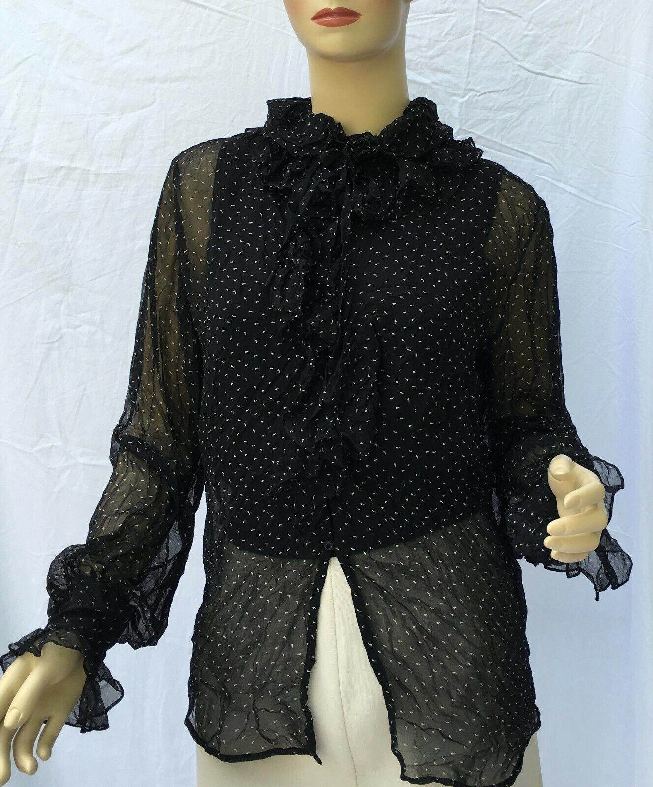 Ralph Lauren Blau Label Ruffle Silk damen Shirt 6 schwarz Sheer LS