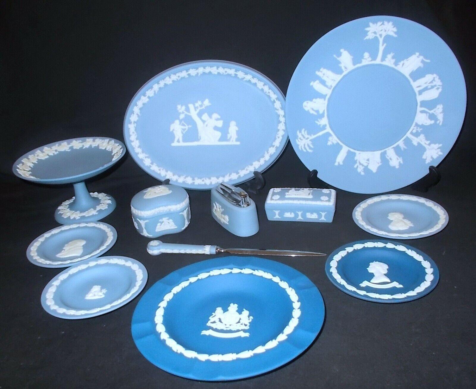 Image 1 - Wedgwood BLUE JASPER WARE 12 Assorted Pieces - Job Lot Incl. Lighter & Plaque