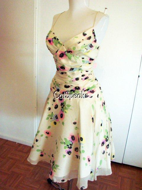 NWT BETSEY JOHNSON VINTAGE CRINKLE SILK FLORAL DRESS8 sale