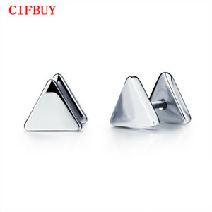 Dreieck-Herren-Ohrstecker-Ohrringe-Silber-Mode-Edelstahl-Vintage-Maenner-Schmuck