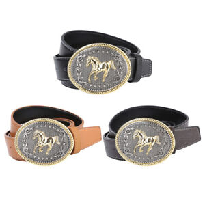 Retro-Western-Cowboy-Leather-Belt-Indian-Oval-Running-Horse-Buckle-Waistband