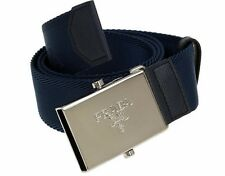 NEW PRADA MEN'S BLUE SAFFIANO LEATHER CANVAS LOGO BUCKLE BELT 105/42