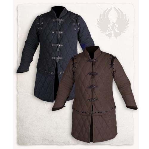HQ Medieval Thick Padded Black Gambeson Aketon Jacket Reenactment SCA FS