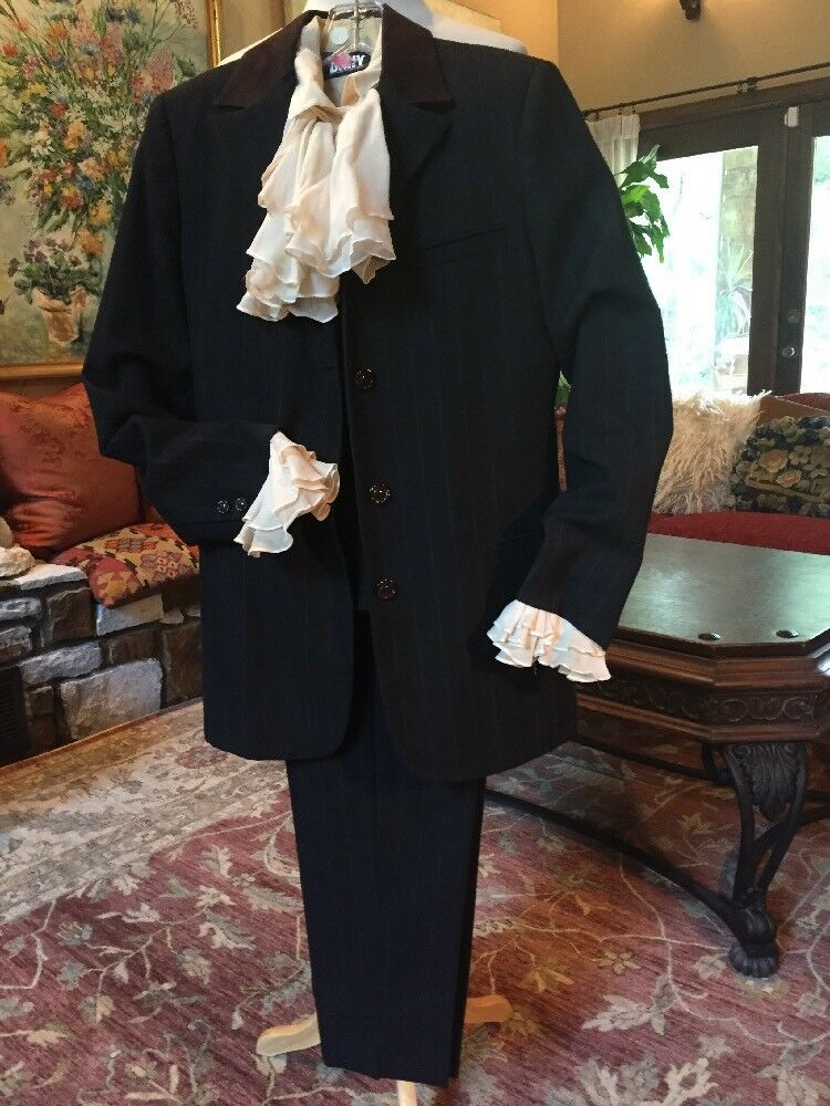 S Pant Suit  Wool Suede 3 Piece Wedding Formal Office Pin Stripe 3 Piece