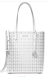 efb731a0c39981 New Michael Kors Hayley Large N/S Top Zip White Perforated Leather ...