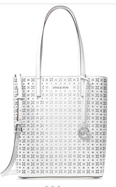 New Michael Kors Hayley Large N S Top Zip White Perforated Leather Tote Bag