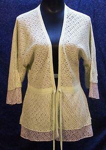 Nwot Large Vert Nic Taupe Et Crochet Zoe Lime Cardigan PaSx5xwqpZ