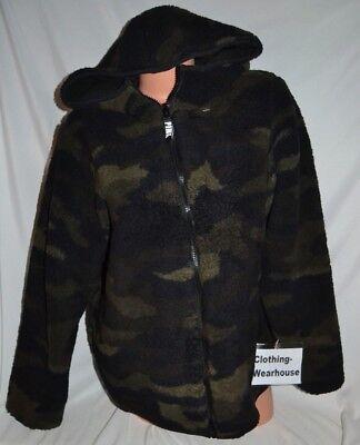 Victoria/'s Secret PINK Camo Green Sherpa Black Reversible Cozy Zip Jacket S,M