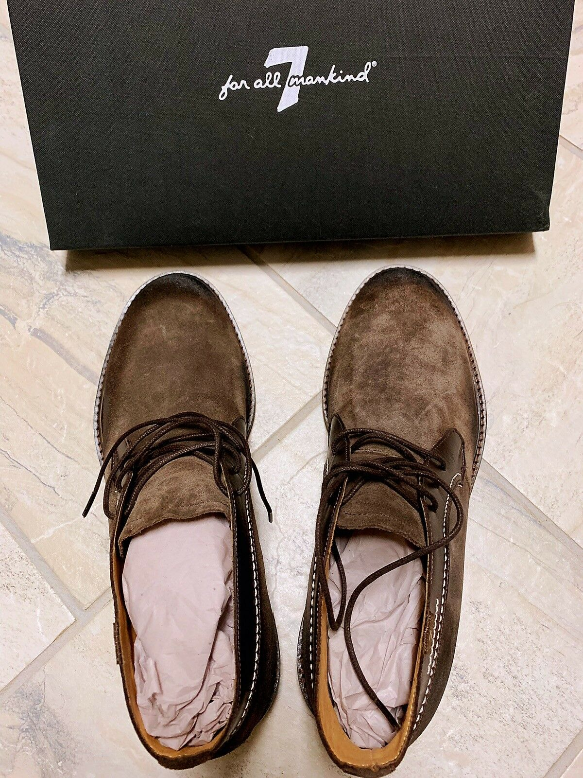 7 For All Mankind Men Cruz Suede Ankle Boots Dark Brown New with Box Size 8.5