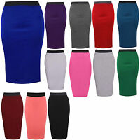 NEW LADIES PLAIN OFFICE WOMENS STRETCH BODYCON MIDI PENCIL SKIRT PLUS SIZE 8-26