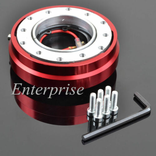 Universal Aftermaket Steering Wheel Red Short Quick Release Hub Adapter Snap Off