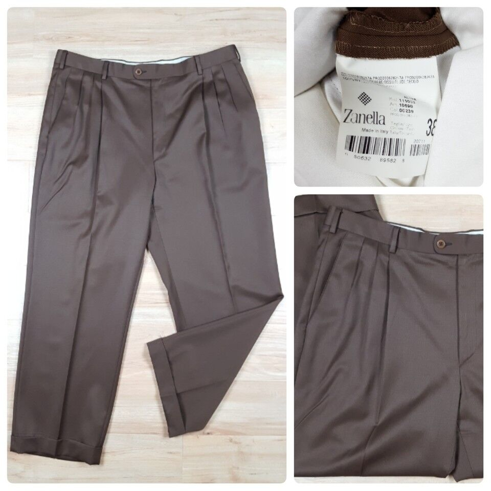 Zanella Men's 38 X 28 Pleated Cuffed Dress Pants Brown Wool Made in