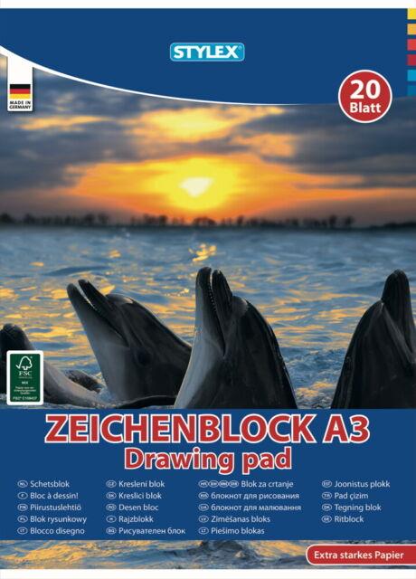 2 X Stück Zeichenblock A3 20 Blatt 120g//m² Zeichenblöcke Zeichenpapier Malblock!