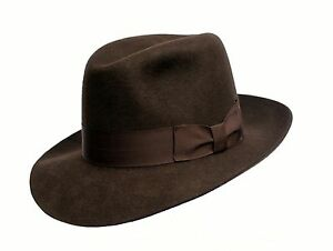 b613616f6 Details about Mens Dark Chocolate Brown Traditional Wool Indiana Jones  Style Trilby Fedora Hat