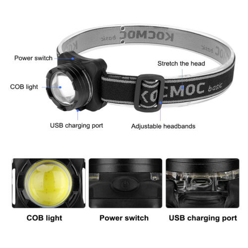 LED Headlamp Rechargeable Headlight head light Torch Flashlight White+Red 3Modes