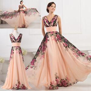 Floral long dresses plus size