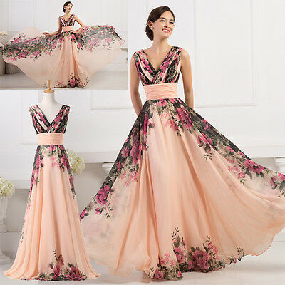 PLUS SIZE Retro Floral Style Chiffon Formal Long Sexy Bridesmaid Evening Dresses