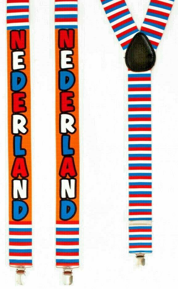 ★ Neu Text Niederlande,Holland Hosenträger Y-Form 3 Klipse 35 mm breit 190 cm