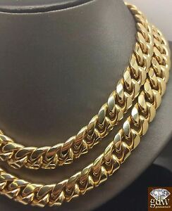 Men-REAL-10k-Gold-Miami-Cuban-Chain-Necklace-14MM-Box-Lock-Choker