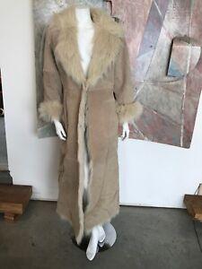 VINTAGE-Suede-Leather-Beige-Fur-Women-039-s-Jacket-Long-Coat-R-SZ-XS-Small