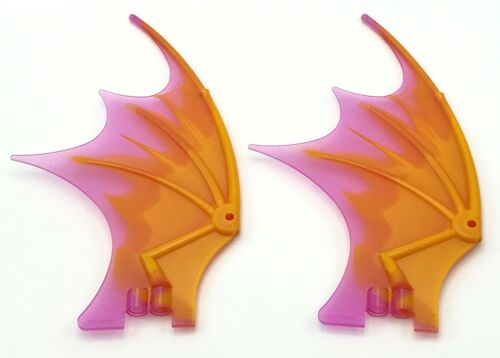 Lego 2 Dragon Wings 19 x 11 with Marbled Trans-Dark Pink Trailing Edge Pattern