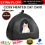 Heated Cosy Bed Condo Cave Orthopedic Electric Cat Kitten Warmer Warm Fleece