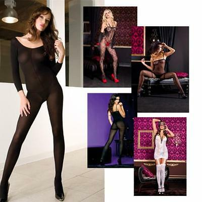 Sexy Opaque Body Stockings Plain Costume Sheer Lace Faux Garters Long Sleeve USA