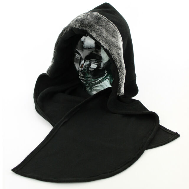 Ladies Hood Hat Scarf BLACK SILVER Faux Furry Trim Warm Fleece Winter