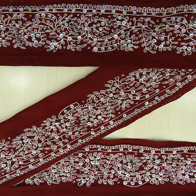 Vintage saree Border Indian Wrap Embroidered Sewing 1YD Plum Trim Used Ribbon