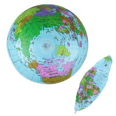 "Inflatable Blow Up World Globe 36CM 14"" inch Earth Atlas Ball Map Geography Toy"