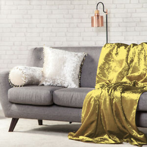 Image Is Loading Chartreuse Crushed Velvet 135x240 Soft Throw Over Sofa