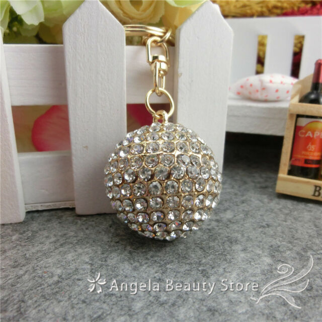 New Dazzling Fashion Lovely White Ball Crystal Charm Pendant Key Bag Chain Gift