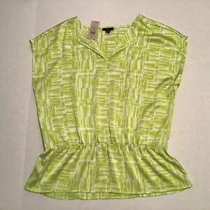 Ann-Taylor-Blouse-Top-Shirt-Medium-Neon-Green-Cap-Sleeve-Peplum-Elastic-Waist