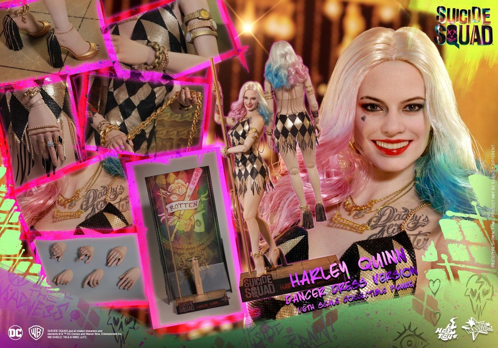 HOT TOYS TOYS TOYS 1/6 DC SUICIDE SQUAD MMS439 HARLEY QUINN DANCER DRESS VERSION FIGURE afb021