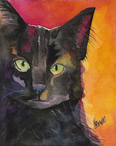 Picture Mom Black Cat GiftsCat Art Print from PaintingPoster Dad 11x14