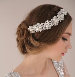 Image Is Loading Princess Wedding Bridal Prom Party Pearl Crystal Flower