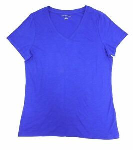 Tommy-Hilfiger-Women-039-s-V-Neck-Tee-Electric-Cobalt-size-Small
