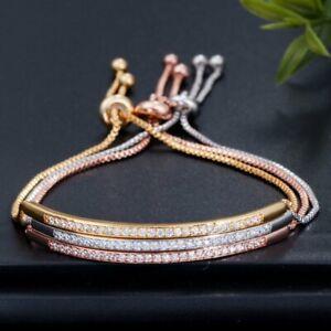 Adjustable-CZ-Gold-Plated-Bracelet-Bangle-Women-Bar-Slider-Drawstring-Jewelry