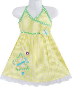 Robe-Fille-Jaune-Tartan-Deux-Papillon-Brode-Reservoir-Robe-D-039-ete-Enfants