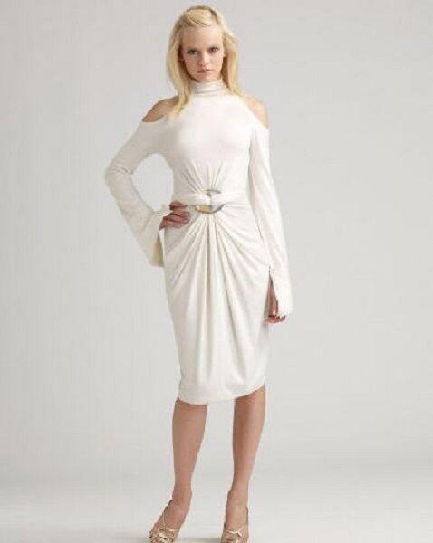 SPECTACULAR NWT  2,695 DONA KARAN IVORY COLD SHULDER Dress