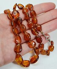 """Vintage 21"""" STERLING SILVER & BALTIC AMBER Nuggets Graduated Beaded NECKLACE"""