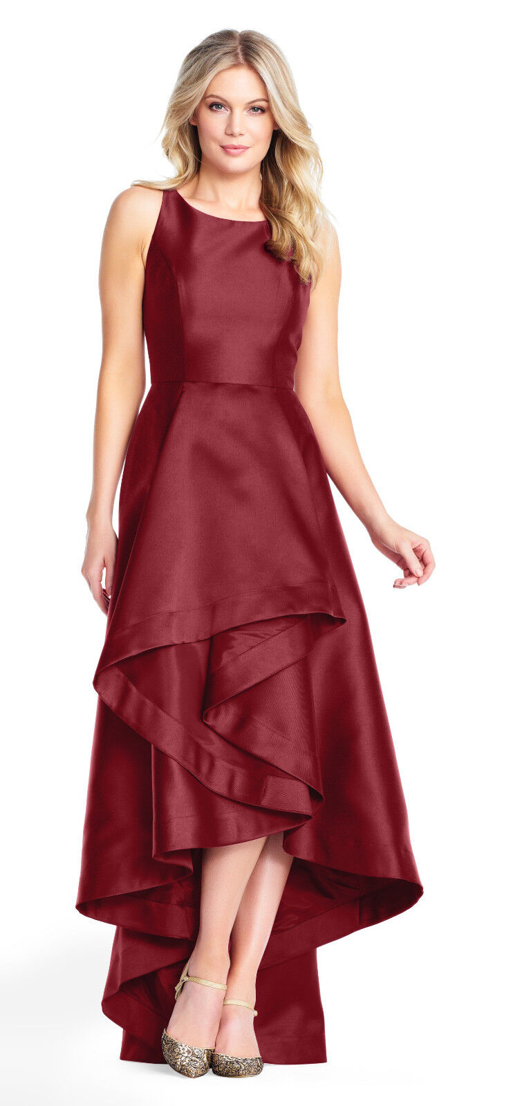 Adrianna Papell Garnet High Low Mikado Gown with Asymmetrical Detail   8