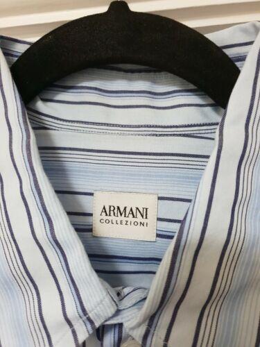 Manches Chemise Rayures Bleu Courtes À À Armani Taille Collezioni L taqw4