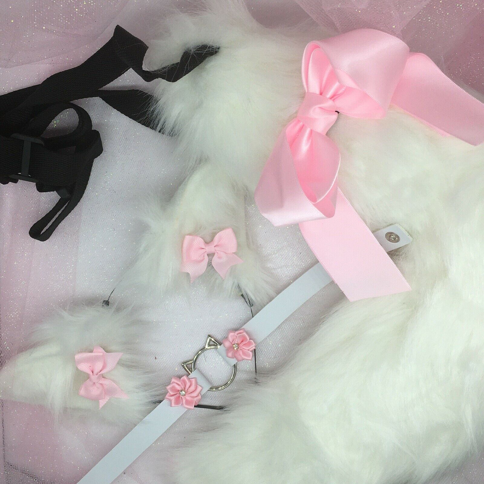 Customized cosplay White Kitten Cat Pet Play Tail Ears Collar